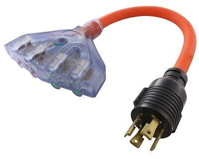 Flexible Power Distribution Adapter NEMA L14-30P to 4 NEMA 5-20R by AC WORKS® - Nema Power Adapter