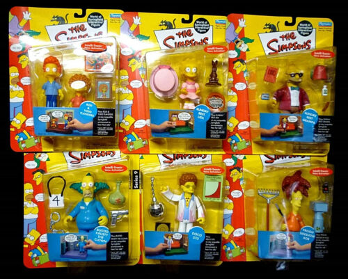 Simpsons TV Playmates Series 9 Action 6 Figure Set New 2002 Lisa Sideshow Bob