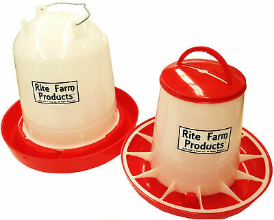 Combo Large Rite Farm Products 2.6 Gal 13.2lb Waterer Feeder Chicken Poultry