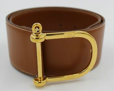 GUCCI Vintage Brown Leather Thick Waist Belt Gold GG Press Buckle XS S