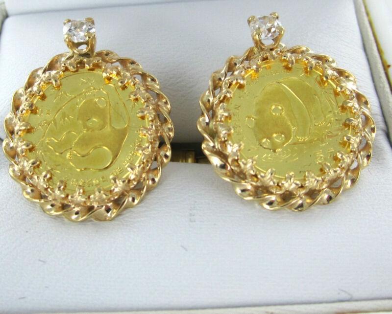 14KT YELLOW GOLD COIN 5 YUAN DIAMOND PANDA CUFFLINKS CHINA PEOPLES REPUBLIC MENS