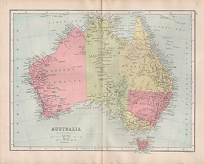 1875 ANTIQUE MAP - AUSTRALIA