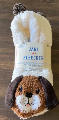 Jane and Bleecker 2 Pair Critter Ballerina Slipper Socks ~Do
