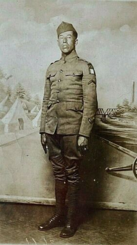 ORIGINAL WW1 US ARMY AFRICAN AMERICAN FIRST ARMY SOLDIER PHOTO POSTCARD RPPC