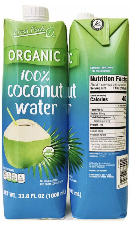 2 Count Fresh Finds 33.8 Oz USDA Organics 100% Coconut Water No Sugar Added