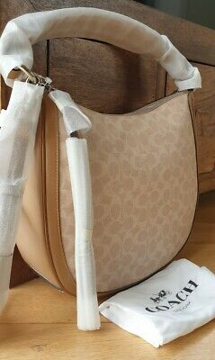 Coach Sutton Hobo Bag In Signature Canvas / Leather In Sand Taupe..NEW..RRP £325