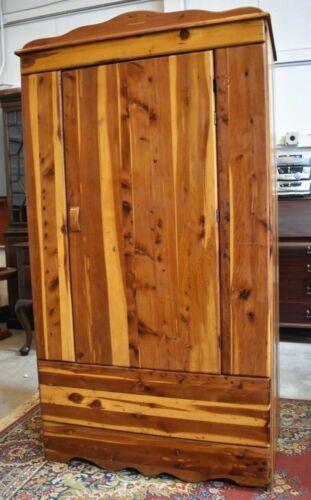 Antique Mid Century Solid Red Cedar Closet Wardrobe Vintage Bedroom Armoire