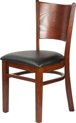 Restaurant Wooden Chair With Black Vinyl Seat Assembled Commercial Graded