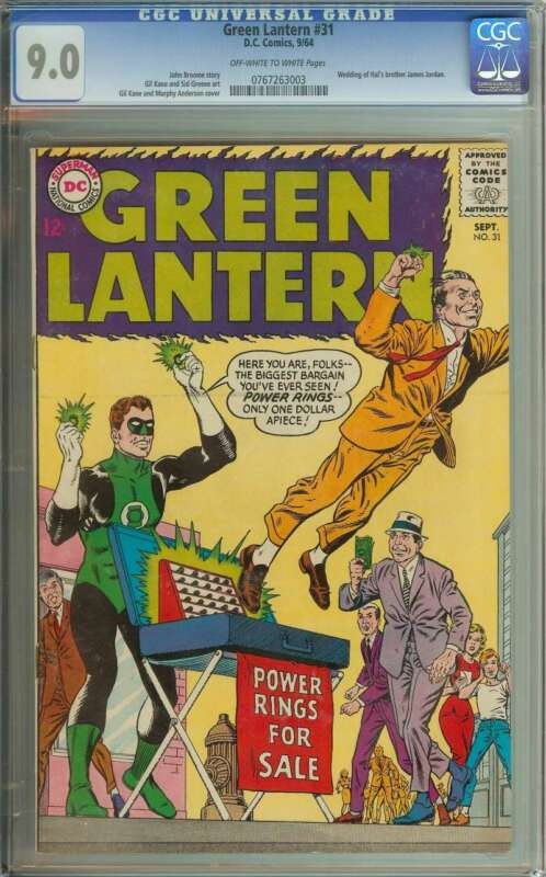 GREEN LANTERN #31 CGC 9.0 OW/WH PAGES