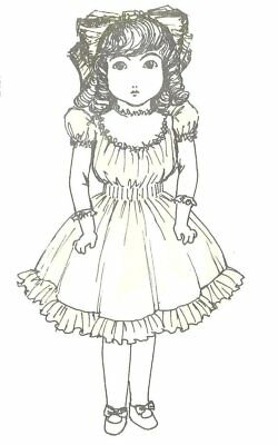 "18-20"" DOLL DRESS PATTERN AG Victorian German French ANTIQUE vintage look"