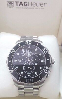 TAG HEUER CAN1010 AQUARACER GRANDE DATE 43mm Black Dial Chronograph Wrist Watch