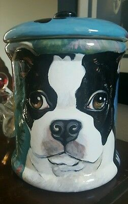 Custom Ceramic DOG TREAT Cookie Jar Boston terrier large canister tye dye urn