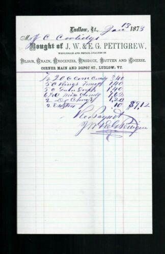 Candy Receipt for John Calvin Coolidge Sr. (Father of Calvin) Ludlow VT, 1873