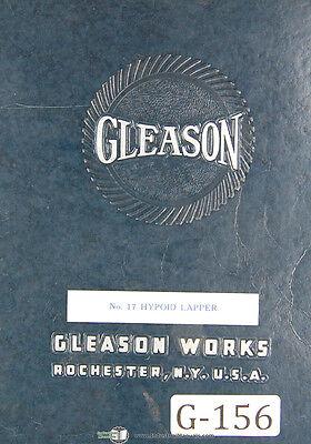 Gleason 17 Combination Testing Lapping Machine Parts List Manual 1937