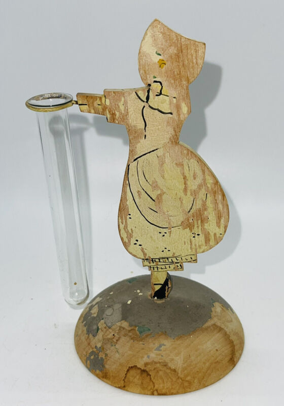 """Folk art chippy wood  painted girl holding a glass bud vase 6"""" Tall 5.5"""" Wide"""