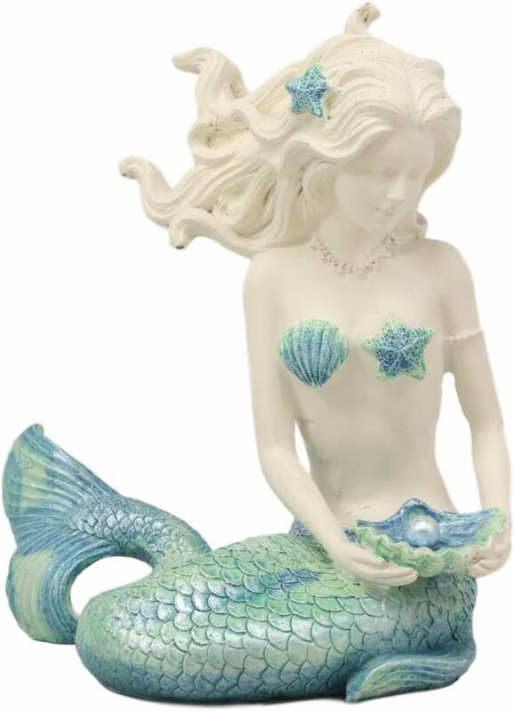 Nautical Aqua Capiz Blue Tailed Mermaid Ariel Holding Pearl In Clam Shell Statue
