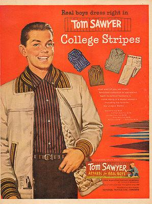 1950s vintage fashion  AD TOM SAWYER Apparel for Boys College Sripes103016