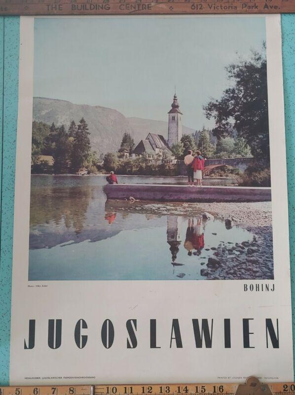Vintage Travel Poster Jugoslawien Bohinj Yugoslavia Water Bridge Church