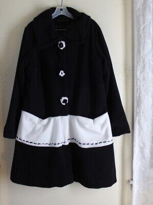 Tara Vao -Sz L French Boutique *Art-to-Wear*Fleece Long A-Line Black Jacket Coat