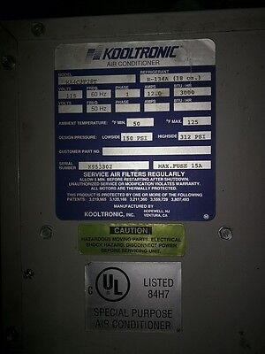 Kooltronic Air Electrical Cabinet Conditioner 3000 Btu R-134a 110v 12a Ka4c3p28t