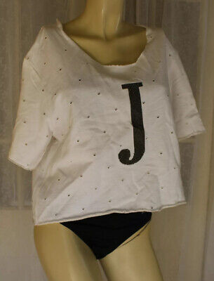 SIZE 40 JIJIL WHITE PERFORATED COTTON SEQUINS J OVERSIZED CROPPED T-SHIRT TOP 💎