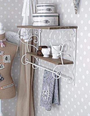 Towel Holder Kitchen Shelf Shabby Chic Wall Shelf Wood & Metal Board