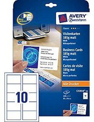 Avery Zweckform Visitenkarten 85x54mm 185g C32010-10 matt weiß mikroperforiert