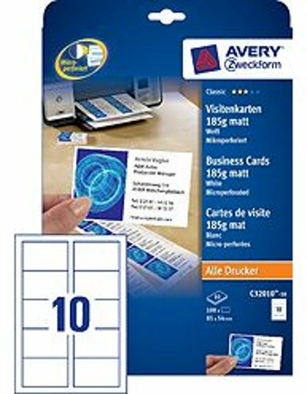 Avery Zweckform Visitenkarten 85x54mm 185g C32010 10 Matt Weiß Mikroperforiert