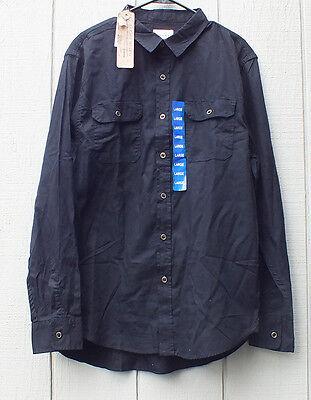 NEW Jachs Men's Twill Soft Cotton Long Sleeve Button Shirt Black Work Size L