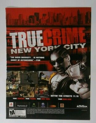 True Crime New York City PS2 Playstation Xbox 2005 Vintage Poster Ad Print Rare