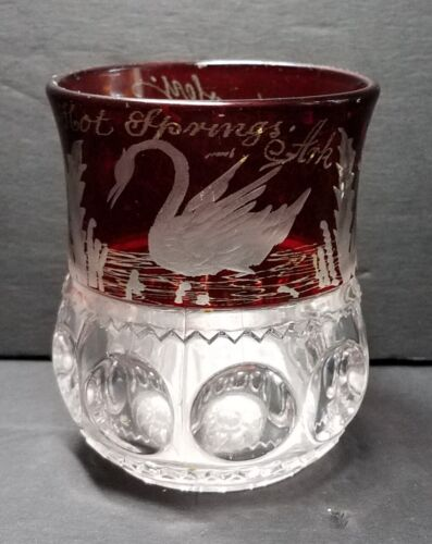 1897 Ruby Flash Pattern Glass Souvenir Cup Paris Texas Hot Springs Ark with Swan