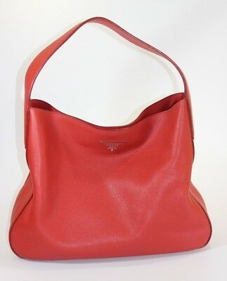 Prada Vittelo Daino Red Leather Hobo Bag Purse (1007601-1) 938c75dc85