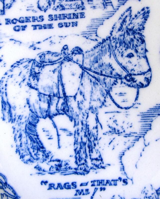 Vintage COLORADO Denver* Rags the Burro* Red Rock*Vernon Kilns Blue Plate