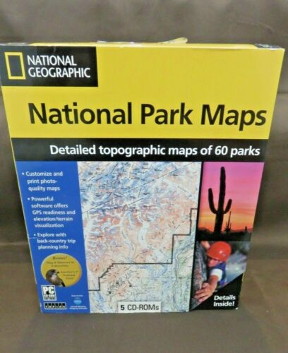 NATIONAL GEOGRAPHIC Detailed Topographical Maps of 60 National Parks TOPO ~RARE