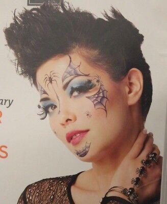 SPIDER FACE TATTOO Halloween Temporary Costume Adult Target Makeup Art Spooky - Halloween Face Makeup Target