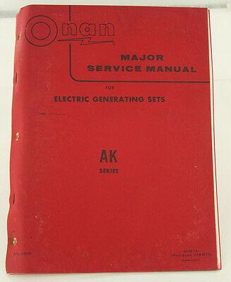 Vintage Onan Ak Series Generator Genset Major Service Manual