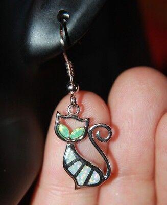 fire opal earrings pendant set gemstone silver jewelry cocktail Cat Kitten drop