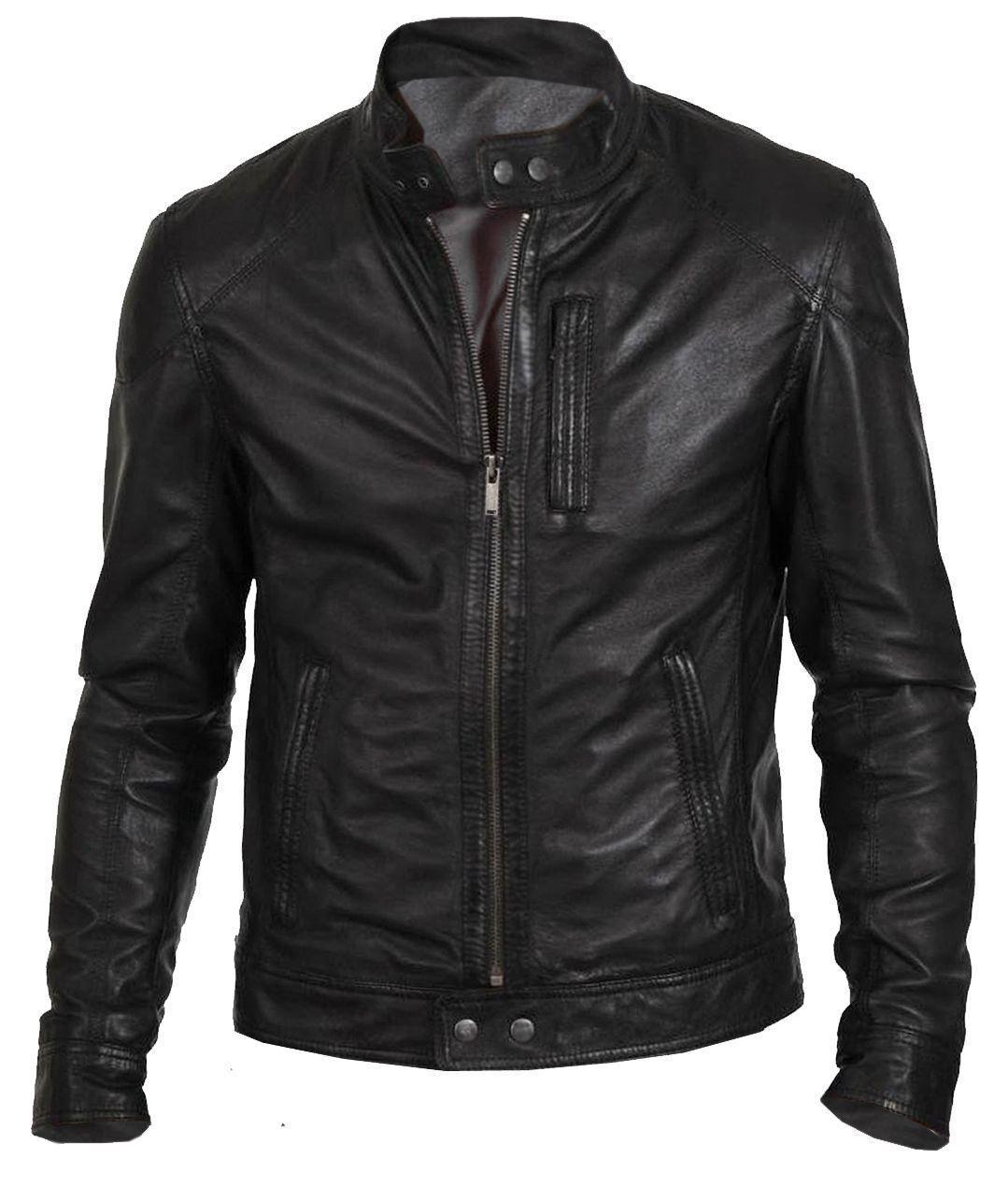 New Men's Bomber Biker Vintage Black Genuine Leather Slim fi