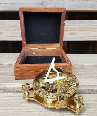 Brass Sundial Compass Vintage Nautical Retro Steampunk Wooden Teak Box 3