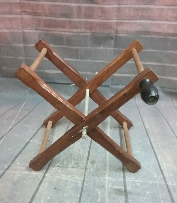 Antique Manual Wooden Yarn Winder ~ Clamps on Tableside