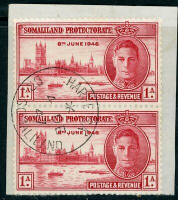 Somaliland 1946 Victory 1 Anna Perf 13.5 vertical pair on piece SG 117a VFU CDS