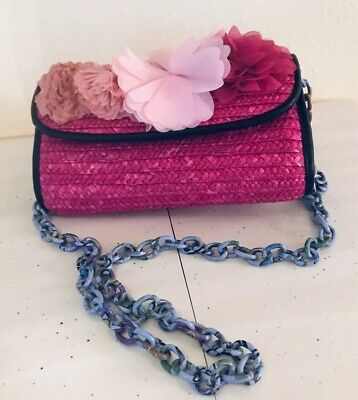 Betsey Johnson Bag - Hot Pink Straw with Flowers - Lavender Chain Link Strap