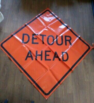 Detour Ahead 48 X 48 Vinyl Non Reflective Roll Up Sign. 0002 Florescent-