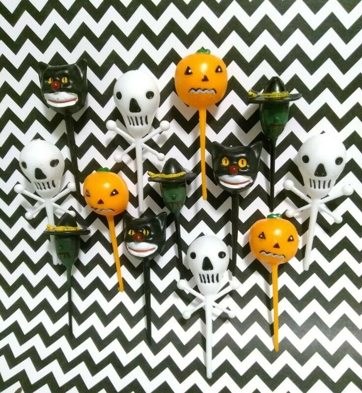 16 Vintage Halloween Cupcake Picks Toppers Skull Witch Cat Jack-o-lantern🎃💀