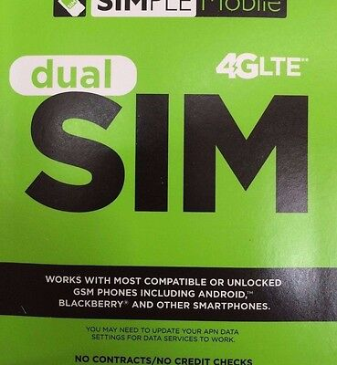 SIMPLE MOBILE DUAL SIM CARD FIRST MONTH Free $60 Plan Unlimited 4G LTE