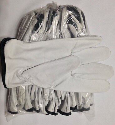 12 Pair Pack, Goat Skin Grain Leather Drivers, work safety gloves (PPE), Size L