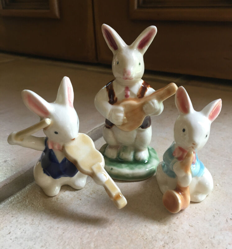 3 Vintage Porcelain Bunny Rabbit Musicians