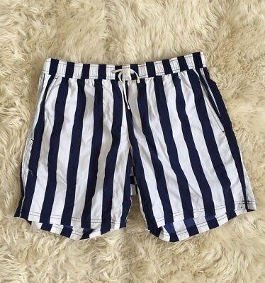 """New Jcrew Men 6"""" Swim Trunk In Astor Blue Stripe Swim Shorts Bottoms A1401 32 L"""