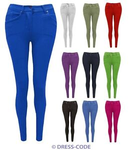 NEW-WOMENS-LADIES-SKINNY-FIT-COLOURED-STRETCH-JEANS-JEGGINGS-SIZE-8-20-PLUS-SIZE