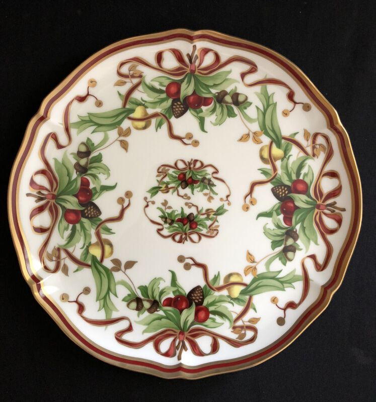 """TIFFANY & CO HOLIDAY 12"""" ROUND SERVING PLATTER BERRIES RIBBON PINECONES GOLDTRIM"""